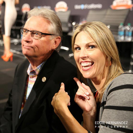 Amy Gutierrez Poses with Duane Kuiper San Francisco Giants, Play Ball Lunch 2015