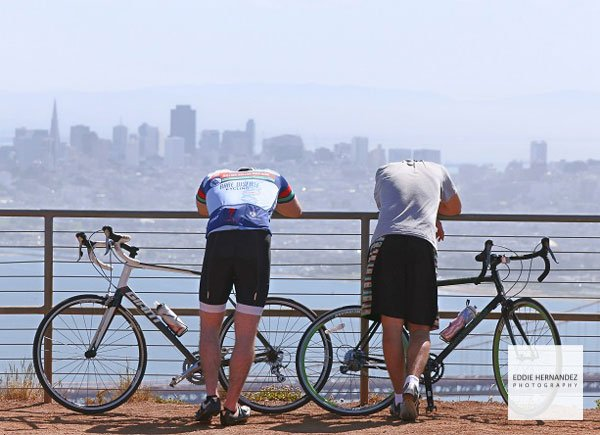 Marin County, Sausalito Marin Headlands View, San Francisco Bay, Mountain Bikers