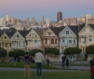 San Francisco Painted Ladies Skyline View, Sunset, Alamo Square