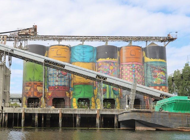 'Giants' on Granville Island Silos - Vancouver, British Columbia, Canada