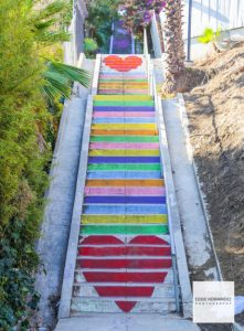 Micheltorena Silver Lake Stairs, Rainbow Hearts, Los Angeles