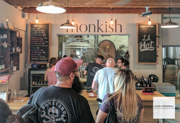 Monkish Brewery Taproom Interior, Torrance, Known for their Hazy IPA's