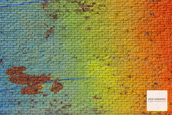 DUMBO Brooklyn Colorful Rainbow Gradient Wall, Brick Street Art, New York