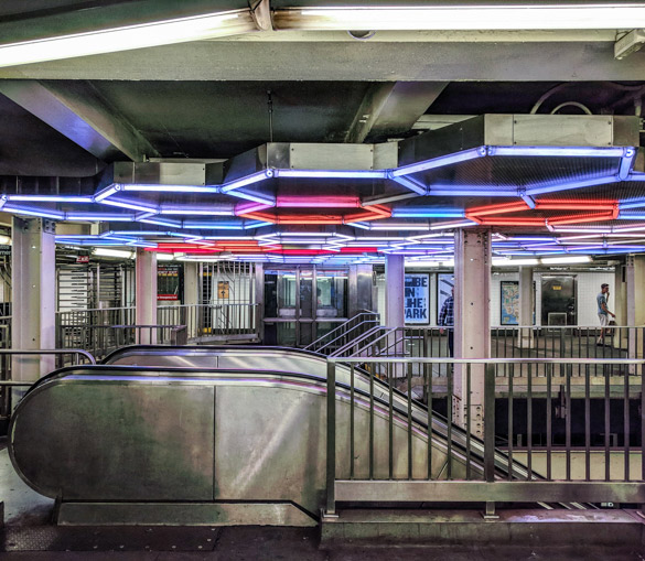NYC Subway Station, Neon Lights