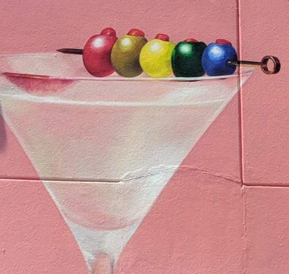 Rainbow Martini Glass Street Art, Bushwick