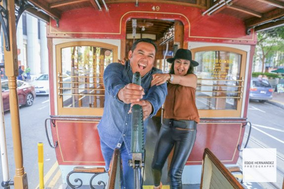 Personal Couple Vacation Photographer, San Francisco Cable Car
