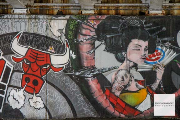 Chicago Street Art - Chicago Bulls and Chicago Cubs Logo