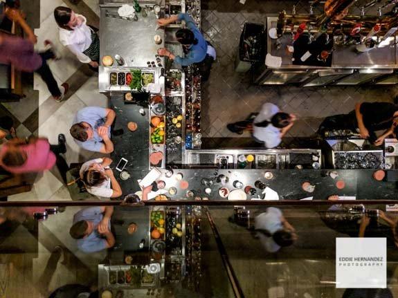 Restaurant Bar Overhead View | San Francisco Photographer