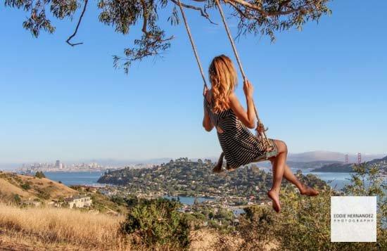 Female Outdoor Portrait, Swing, Hippy Hill, Tiburon, Marin County
