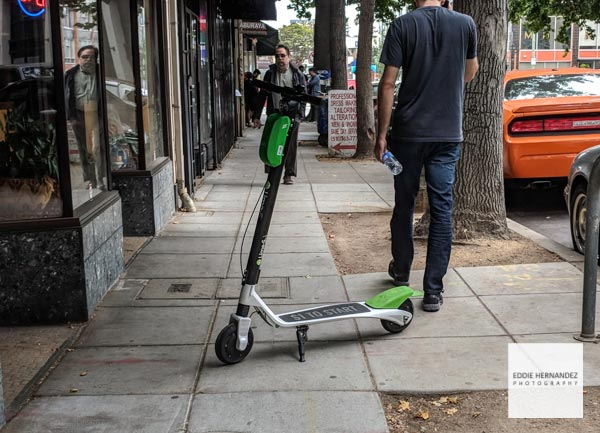 Lime Electric Scooter Blocks Sidewalk In Oakland, California