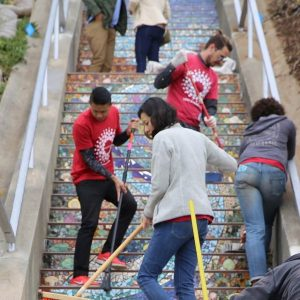 Levi's Community Volunteer Day, Team building, 16TH Avenue Tiled Steps San Francisco