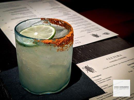 Margarita Cocktail Closeup // Salted Rim with Lime Wedge // Cultura Mexican Restaurant, Carmel, California