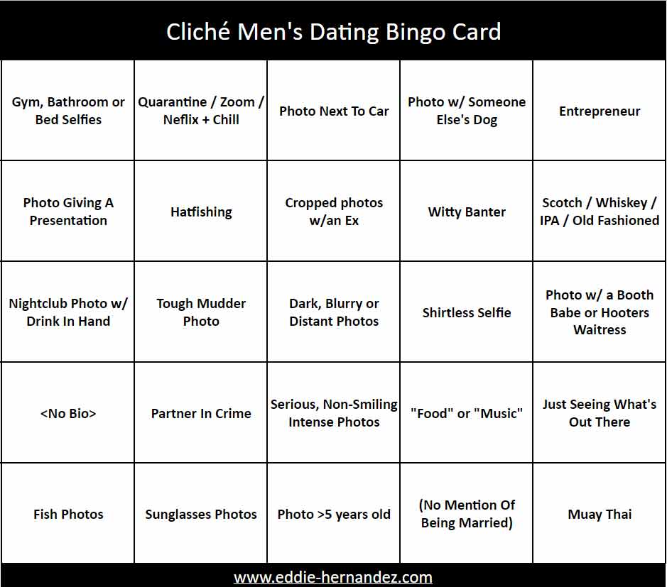 Men's Dating Bingo Card