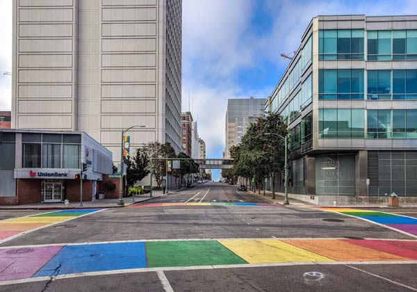 Downtown Oakland Rainbow Intersection Art