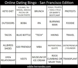 Online Dating Bingo - San Francisco Starter Pack