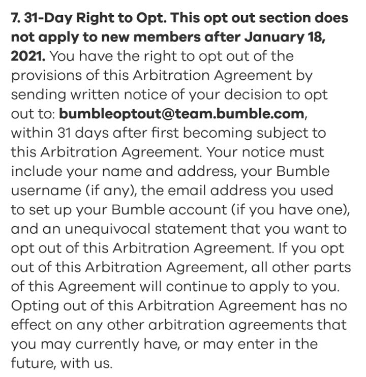 Bumble Arbritration Agreement Opt Out