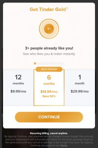 Tinder Gold Cost, Price Subscription